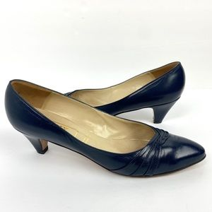 Bally Vintage Navy Blue Pointed Toe Heels England